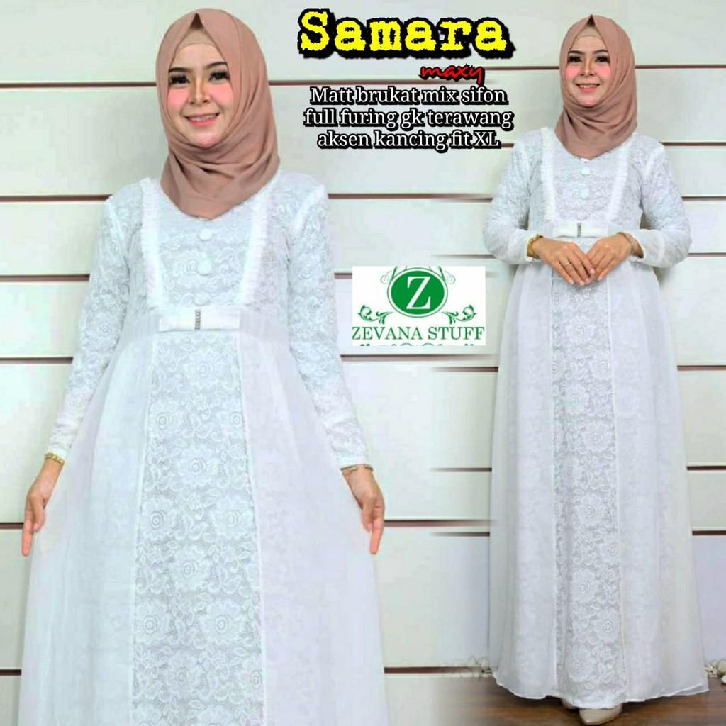 Gamis Brokat Putih Samara Cantik Fashion Muslim Top Seller