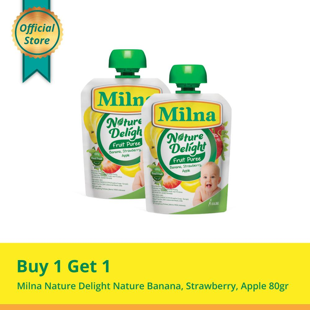 Buy 1 Get 1 Milna Nature Delight Nature Banana, Strawberry, Apple 80gr By Kalbe Home Delivery.