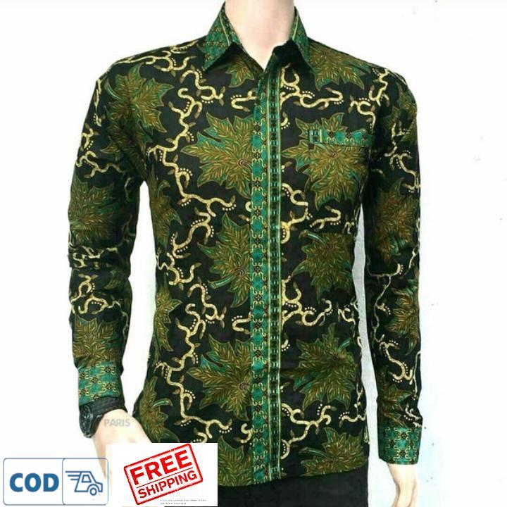 Kemeja Batik Daun Hijau