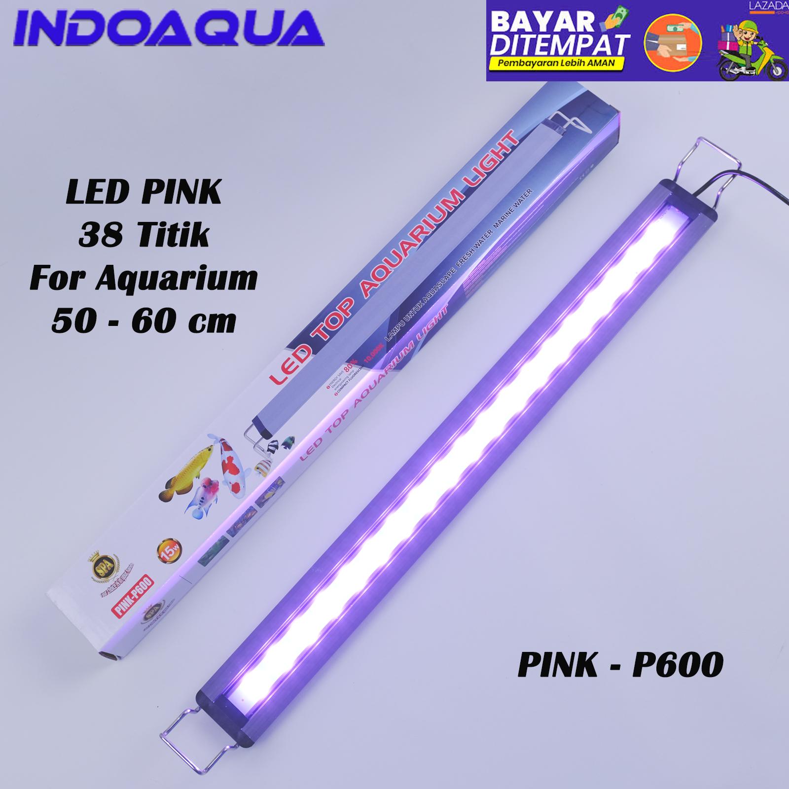 INDOAQUA - Lampu LED Aquarium Pink Muda Lampu Aquarium LED Ikan Arwana Super Red