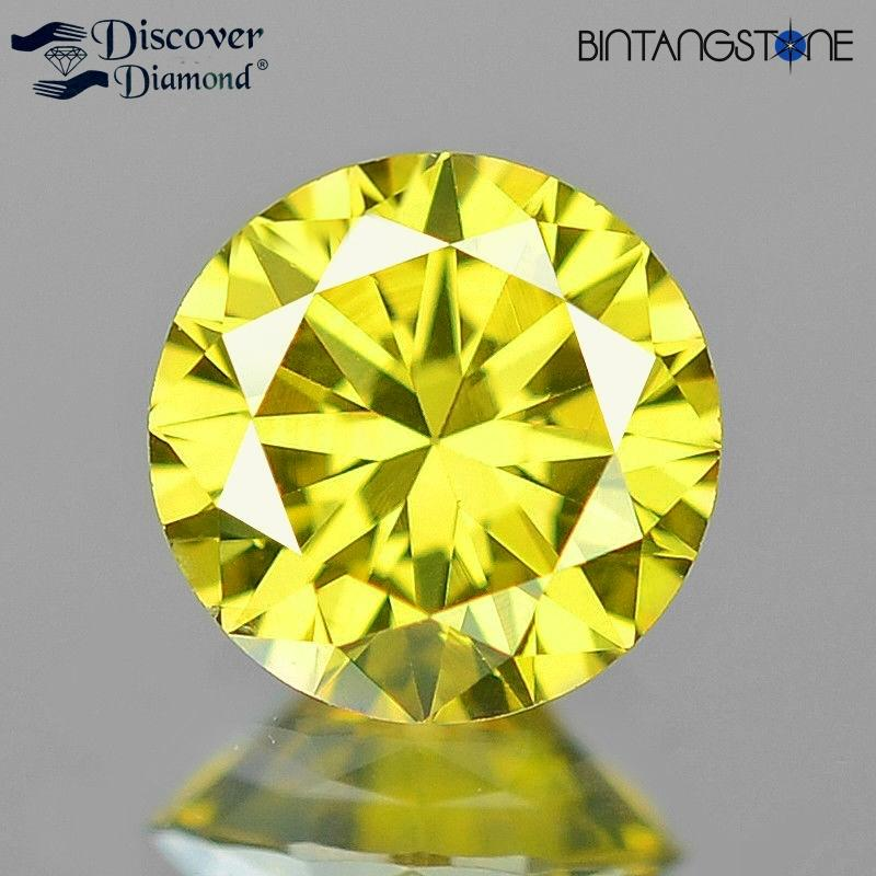 Ramadhan Big Sale Yellow Diamond Vvs Clarity 2.01 Mm 0.035 Cts Natural Certified Berlian Africa Asli Sertifikat By Bintang Stone.