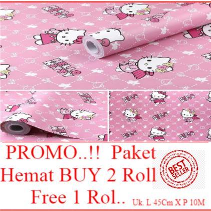 Promo..!! Paket Hemat Buy 2 Roll Get 1 Roll Murah Meriah Wallpaper Dinding Motif Hello Kitty size 4