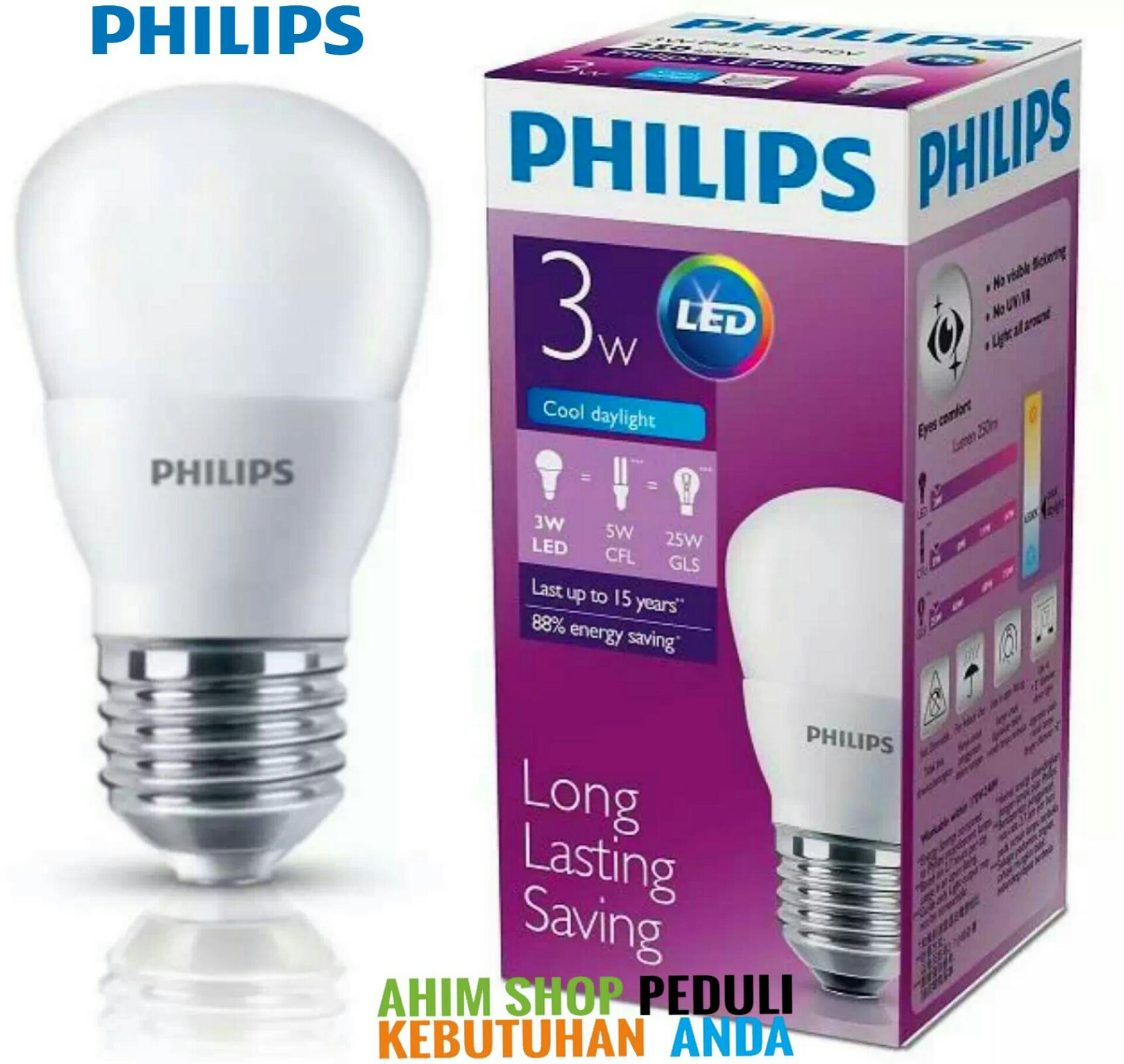 PHILIPS Lampu Led Bulb 3 Watt 3W 3Wat 3 W Putih Paket 4 Pcs - Cool