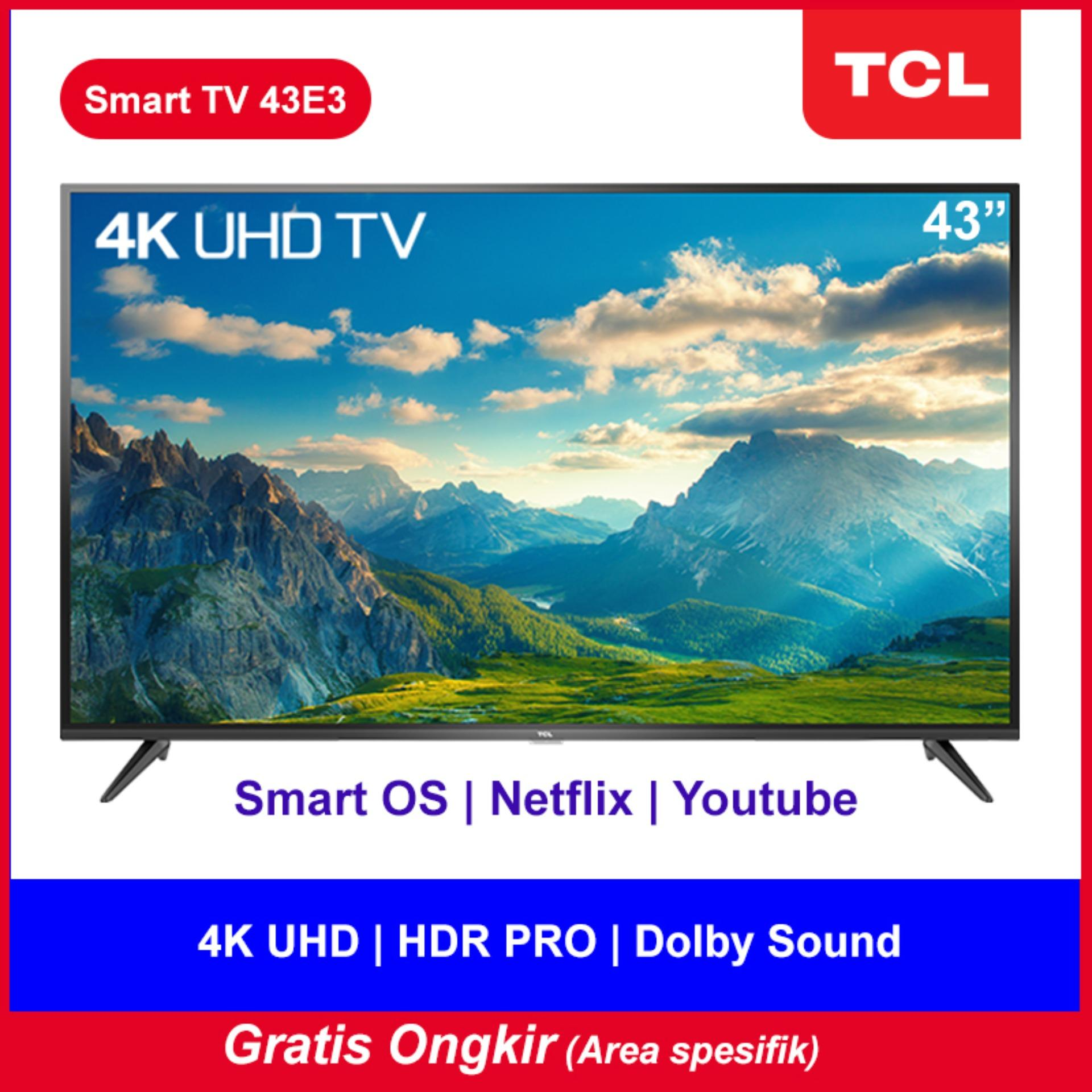 TCL LED TV 43 inch 4K UHD-Smart TV-WiFi-Netflix-Youtube-Bluetooth-HDMI-USB-Dolby sound (model 43E3)
