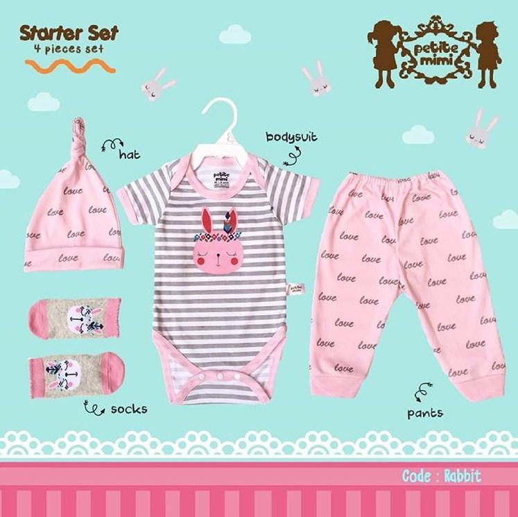 Petite Mimi Paket Lengkap isi Baju Bayi Jumper Bayi Celana Bayi BONUS Topi Bayi dan Kaos