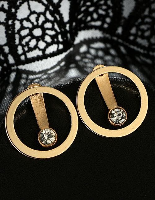LRC Anting Tusuk Vintage Gold Color Diamond Decorated Round Shape Earrings