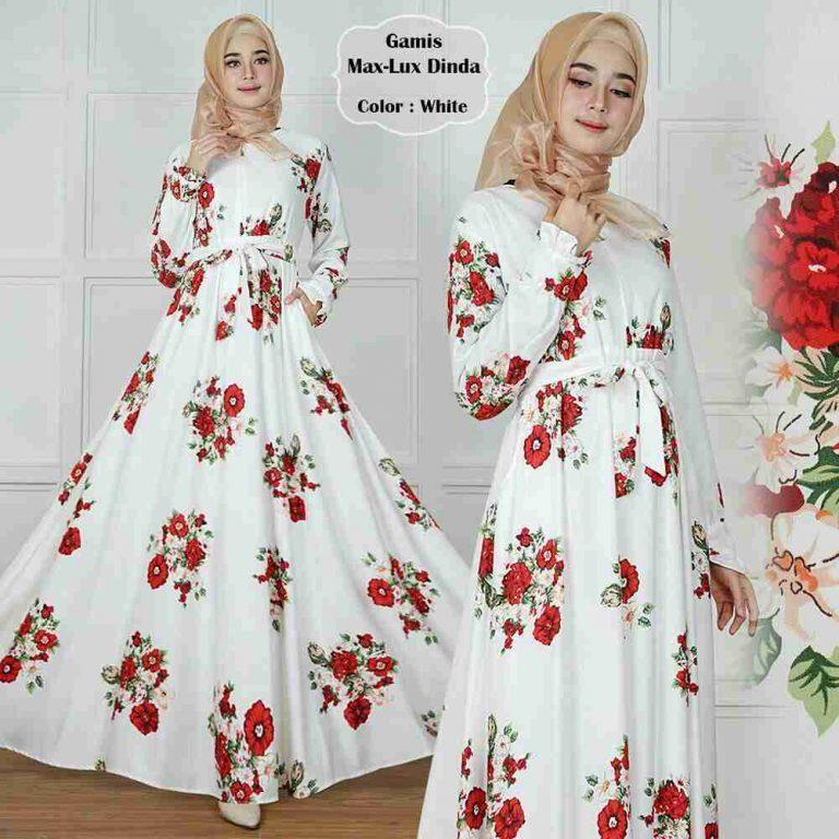Model Gamis Terbaru Emma White Rose / Baju Gamis Syari / Gamis Wanita