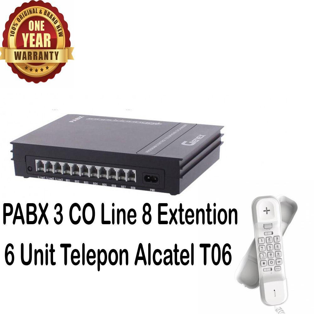 Genex Best Seller Murah PABX PBX D308 + 6 Unit Alcatel T06 putih - Paket PABX 308 Sahitel 308 PABX Mini PABX Bergaransi
