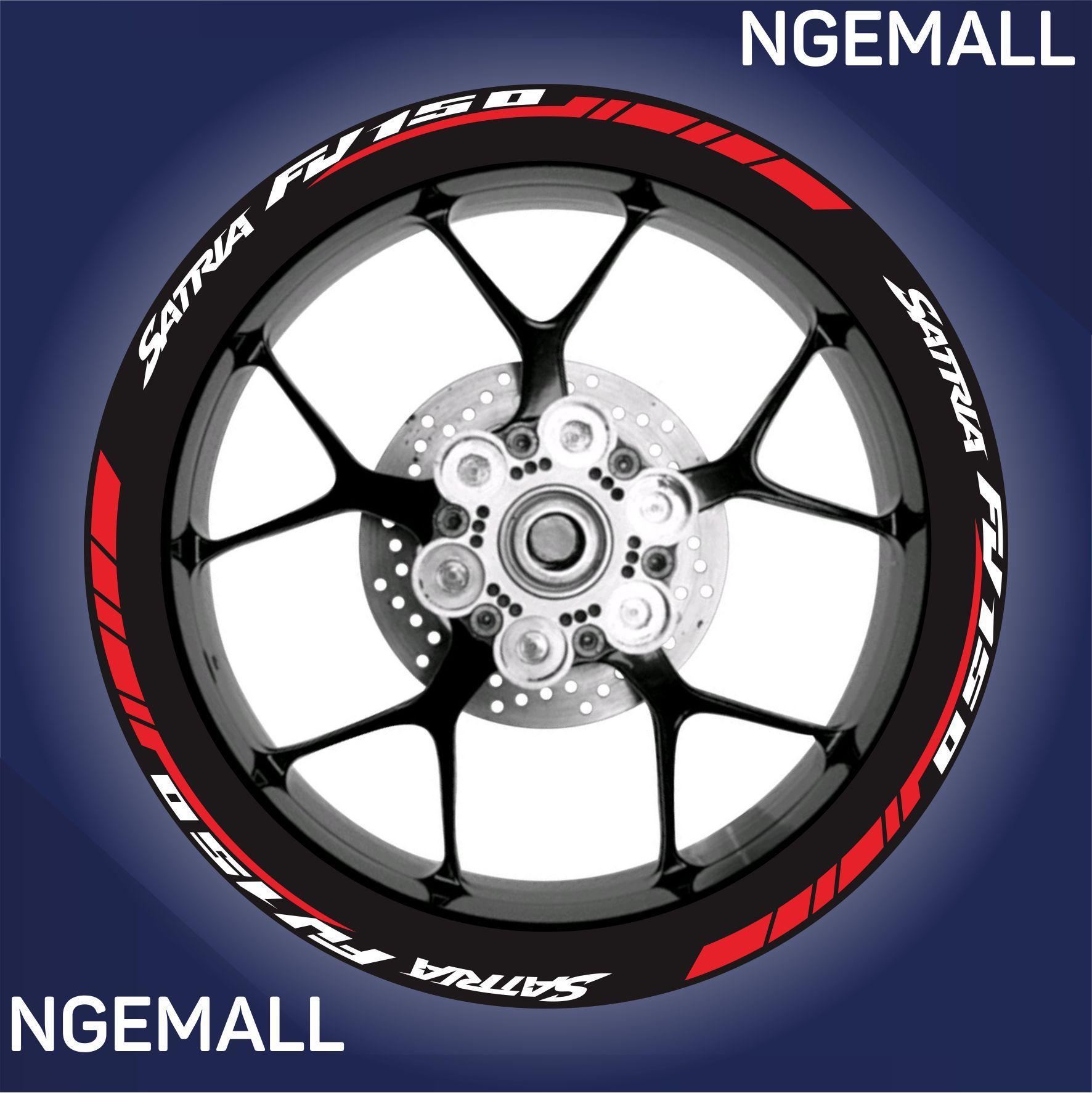 Ngemall - Aksesoris Motor Stiker Cutting 6 Velg Suzuki Satria - Merah kombinasi Putih - Ngemall