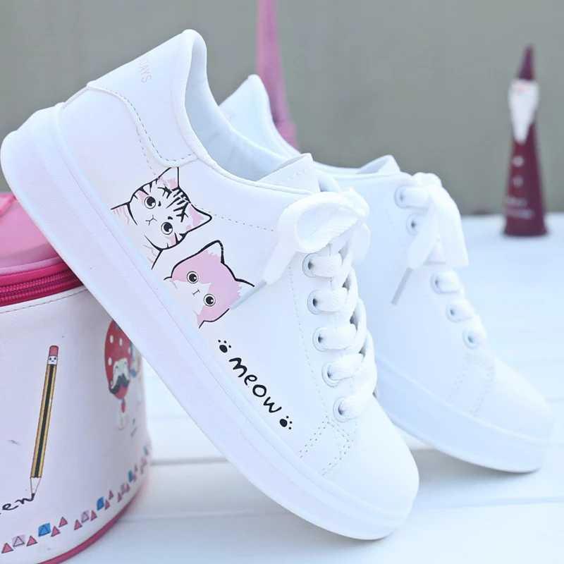 BK Sepatu Kets Sneakers Wanita Motif MEOW - Kets Lucu f197a756c7