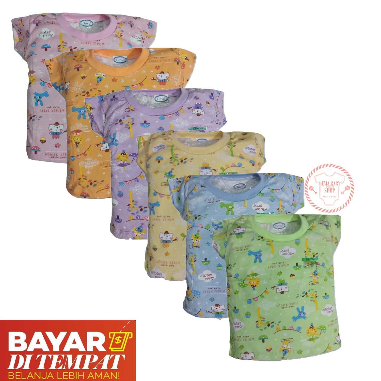 Gema 6pcs Baju Oblong Bayi Lengan Pendek Laki Laki Dan Perempuan Dove Motifprint Mixcolour [0-24bulan] By Gemababy Shop.