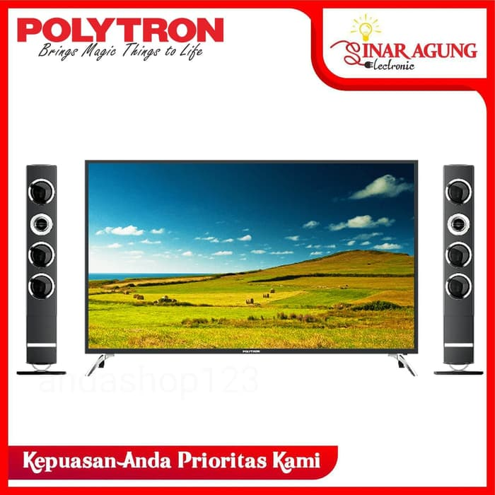 LED TV POLYTRON PLD 50TS883 DIGITAL TV + TOWER SPEAKER 50INCH 100% ORI