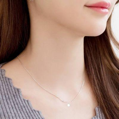Necklace 18k Rose Gold Star Necklace Titanium Steel 18k Steel Silver / Kalung Titanium Wanita By Toko Susu.