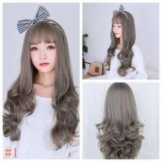 wig grey wig curly wig lurus wig wave wig pendek wig cosplay thumbnail