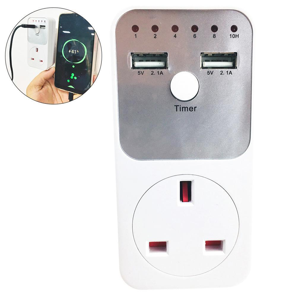 Qooiu 2 USB Ports Sync Plug Timer Switch Countdown Output Controller Countdown Plug Charger For Mobile Phone