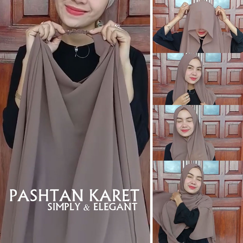 Hijab Pasmina Karet Ceruty Baby Doll  Terbaru Model Terbaru Gak Perlu Pakai Jarum Pentul Lagi / Hijab Terbaru Warna Terlengkap