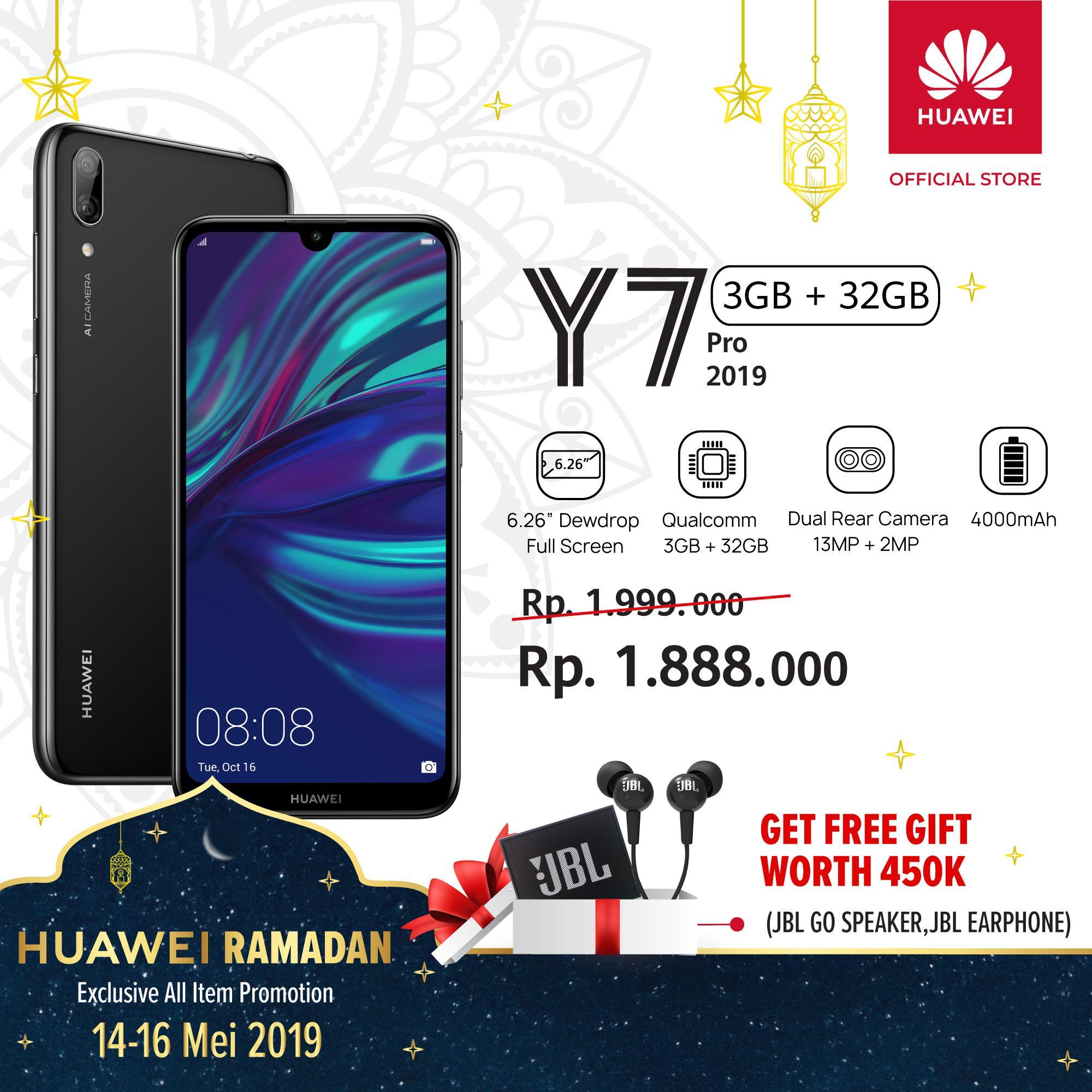 【Huawei Ramadan】Huawei Y7 Pro 2019 Free JBL Go Speaker & JBL Earphone