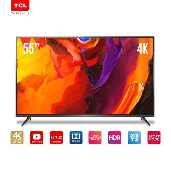 TCL LED TV 55 inch 4K UHD- Smart TV-WiFi-Netflix/Youtube-HDMI-USB-Dolby sound (model 55E3)
