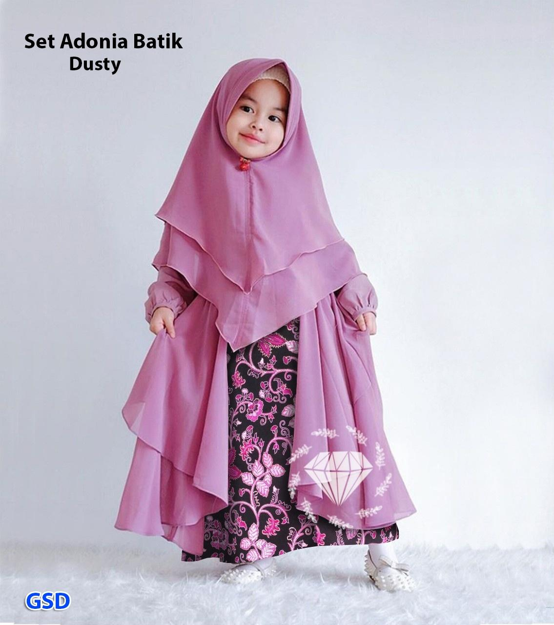 GSD - Baju Muslim Anak / Baju Anak Perempuan / Gamis Anak-anak - Syari Adonia Batik Kids