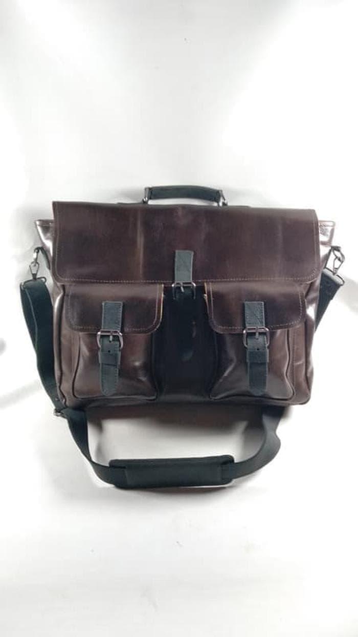 tas laptop kulit sapi asli 3 in 1 jinjing ransel dan selempang TSB35 / tas jinjing murah