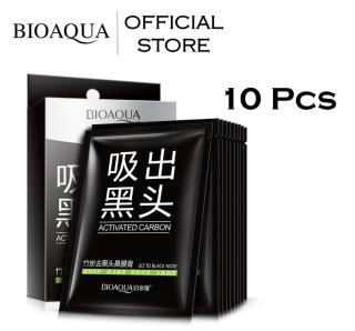 BIOAQUA Official Carbon Masker Penghilang Komedo - 10 Pcs - Masker Bincul Hitam Mengecilkan Pori-Pori Black Head Remover - Masker Penghilang Komedo Bioaqua isi 10 Pcs Dapat Box thumbnail