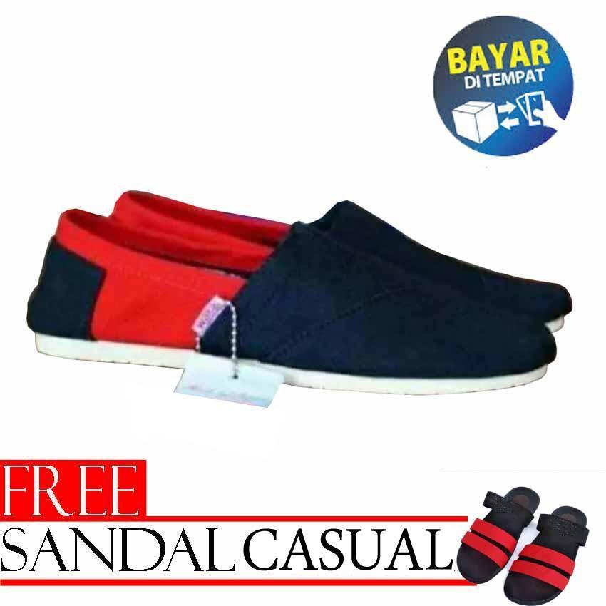 Mafather Sepatu unisex sepatu pria sepatu wanita sepatu slip on pria hitam  merah free sandal slempang 966b8002de