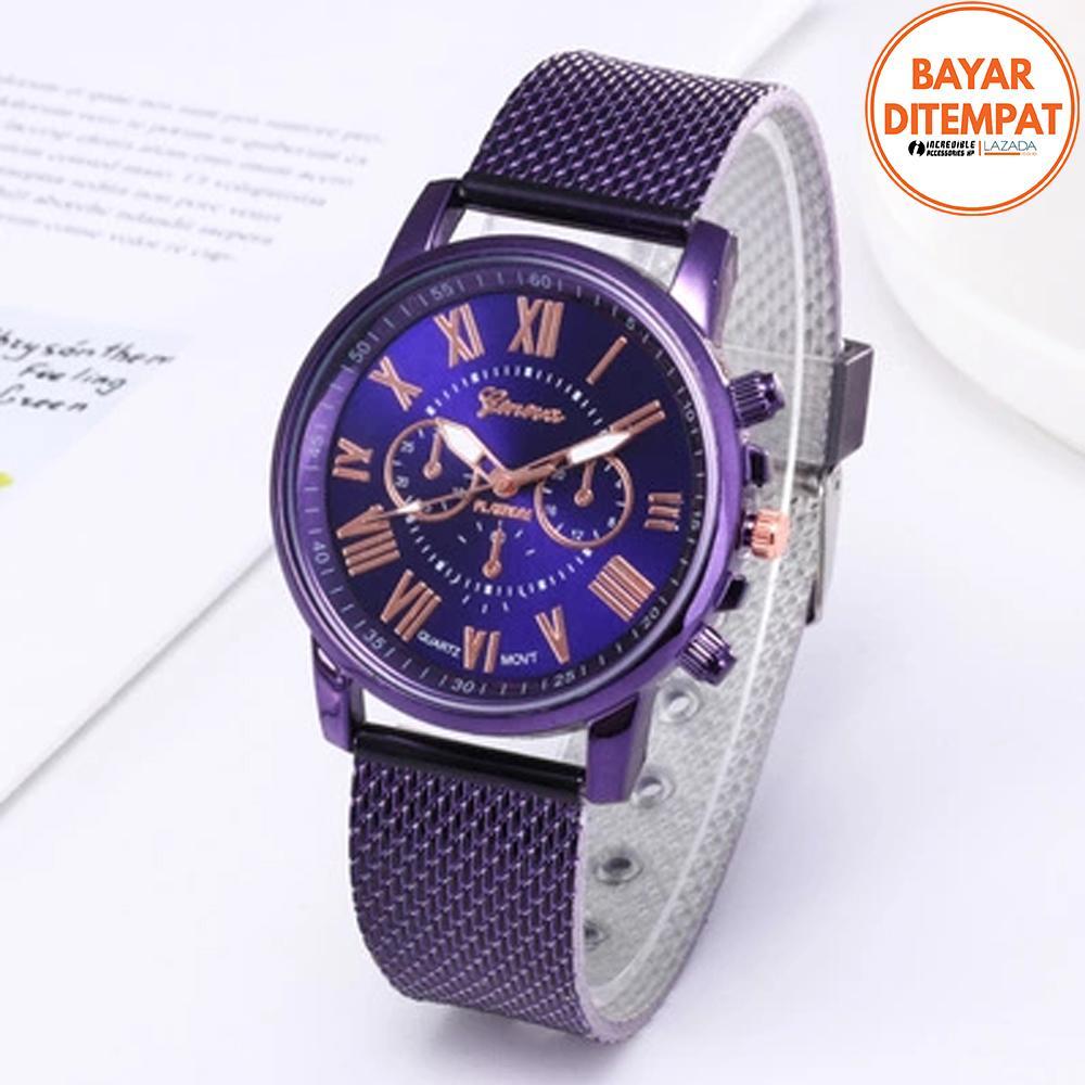 GENEVA 265 Jam Tangan Wanita Analog Fashion Casual Women Strap Plastic Stainless Steel Wrist Quartz Watch