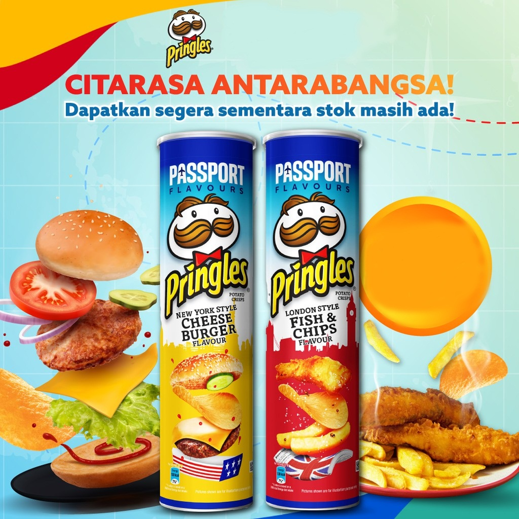 Pringles Potato Chips Passport Edition Fish N Chips Cheese Burger Lazada Indonesia