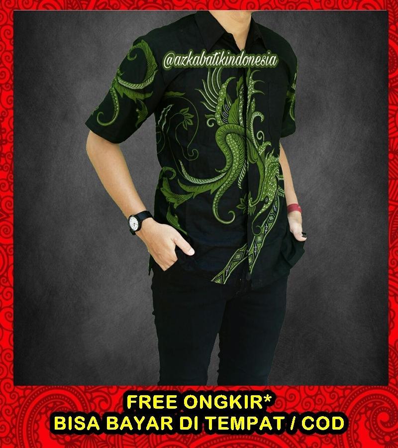 Baju Batik Pria Lengan Pendek Casual / Baju Batik Pria Casual Modern Termurah / Batik Pria Kombinasi / Kemeja Batik Pria Lengan Pendek / Azka Batik