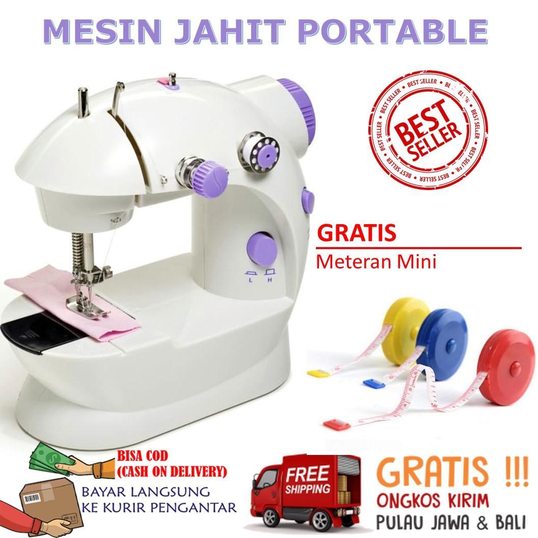 MESIN JAHIT PORTABLE ADA LAMPU Mudah Dibawa Sewing Machine Pedal Praktis Listrik Kecil Pedal Mini Portable Electric Sewing Machine