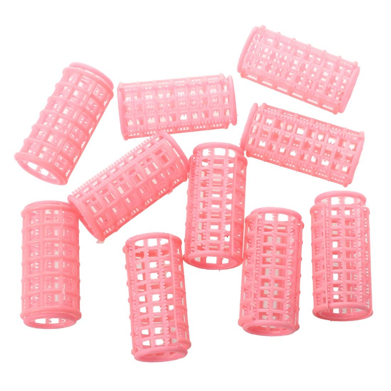 Lady Pink Plastic Magic Circle Hair Styling Roller Curler 10 Pcs cao cấp