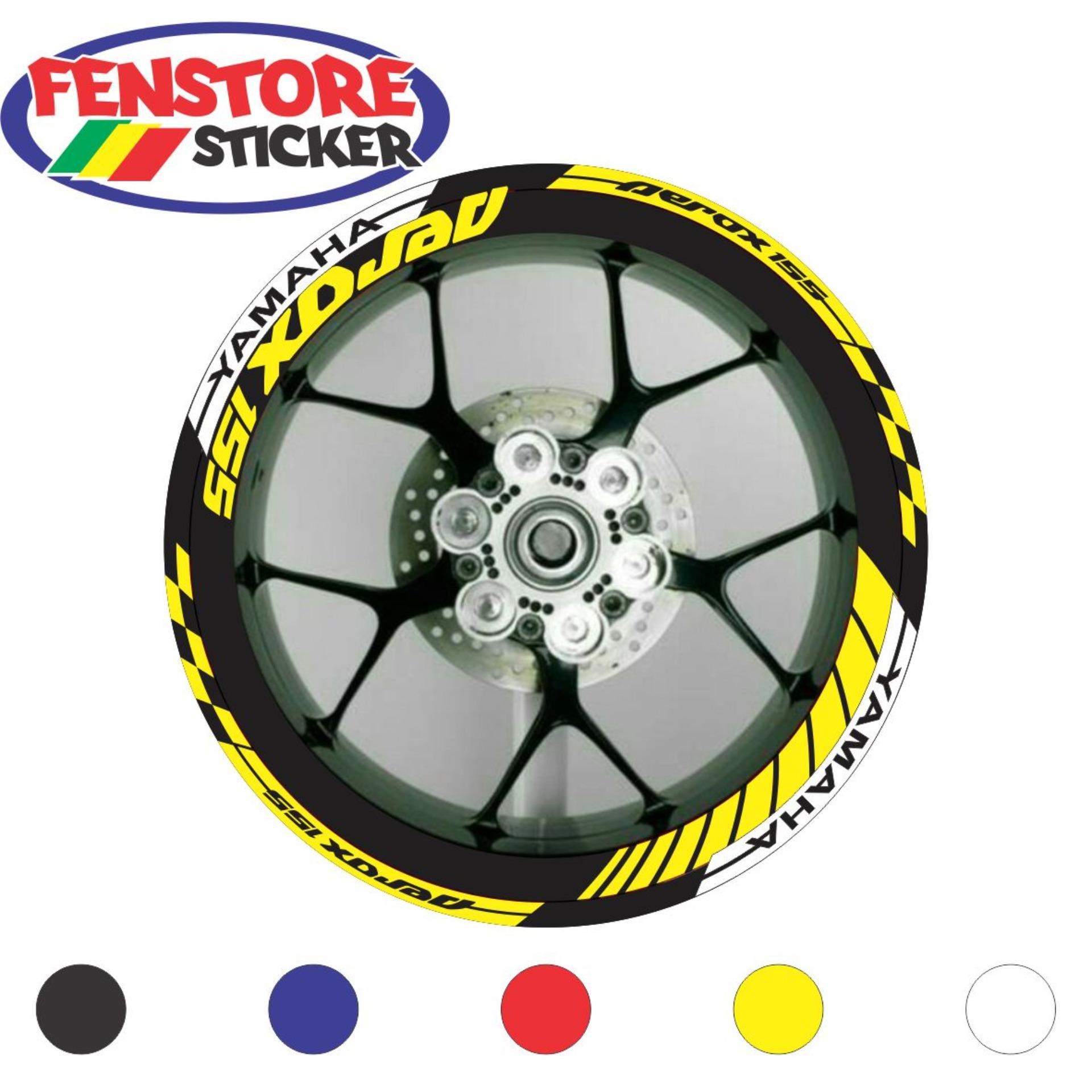 Fenstore cutting sticker aksesoris motor stiker velg yamaha aerox 155 warna kuning f3n