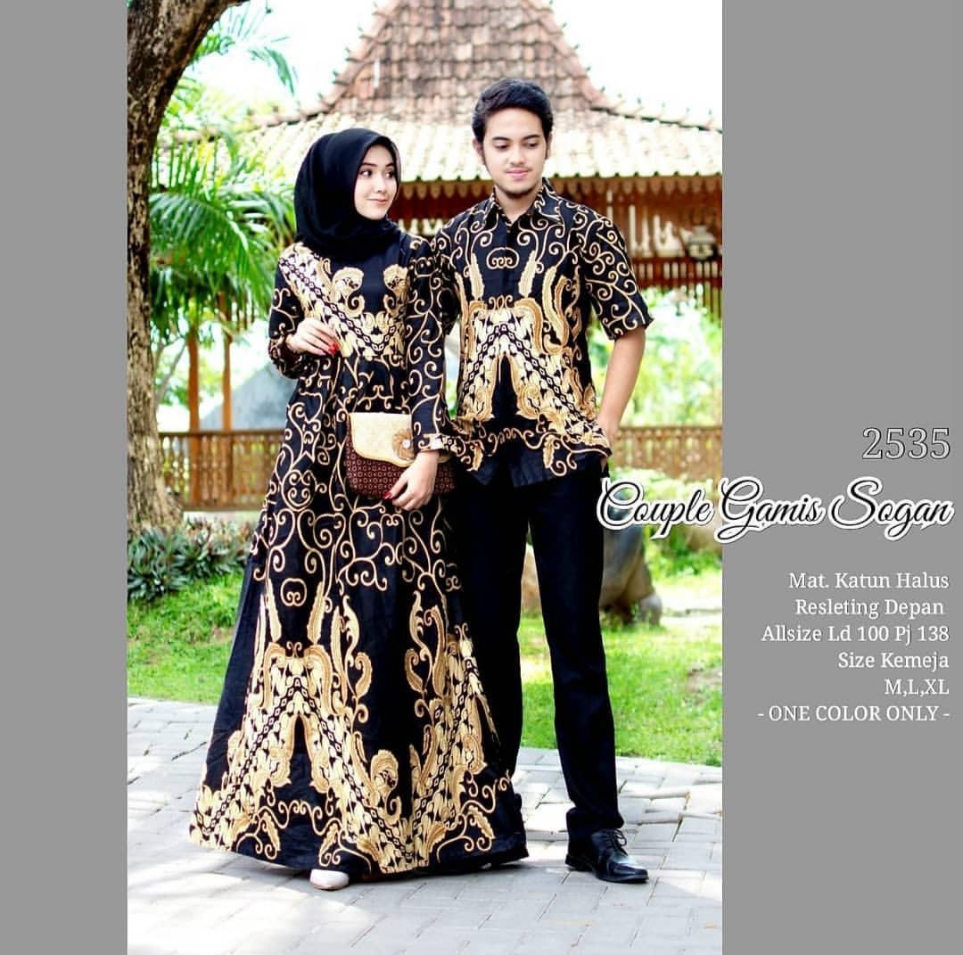 Likin TERMAHAL Baju batik couple sarimbit sepasang hem dan gamis batik murah terbaru Couple Gamis Sogan Kode 2535