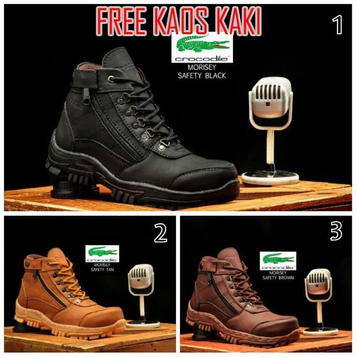Sepatu Safety Ujung Besi Sepatu Boots Casual Proyek Kerja Lapangan Works  Boots Crocodile Morisey Hitam cef1410399