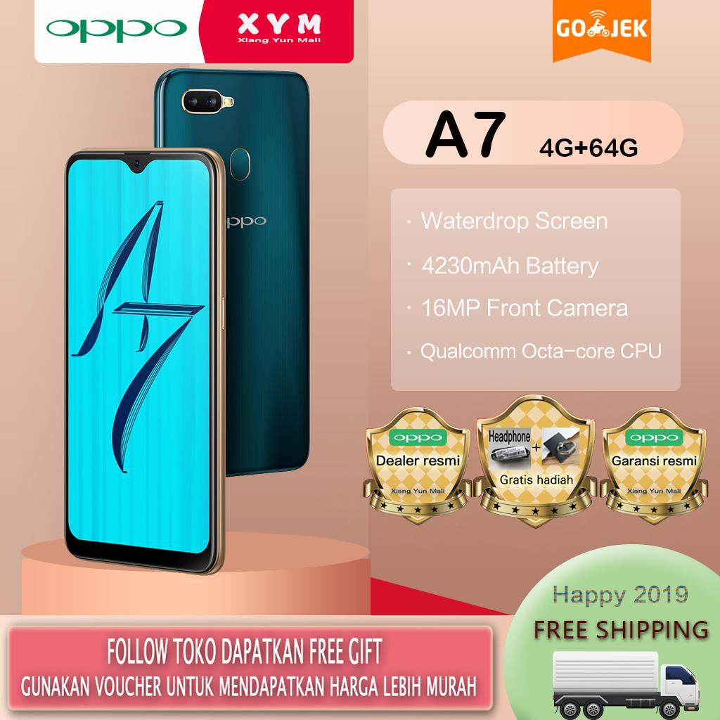OPPO A7 hp 4G/64G - COD, Gratis Ongkir, Waterdrop Screen, 4230mAh Battery, Garansi resmi [ Please use the voucher ]