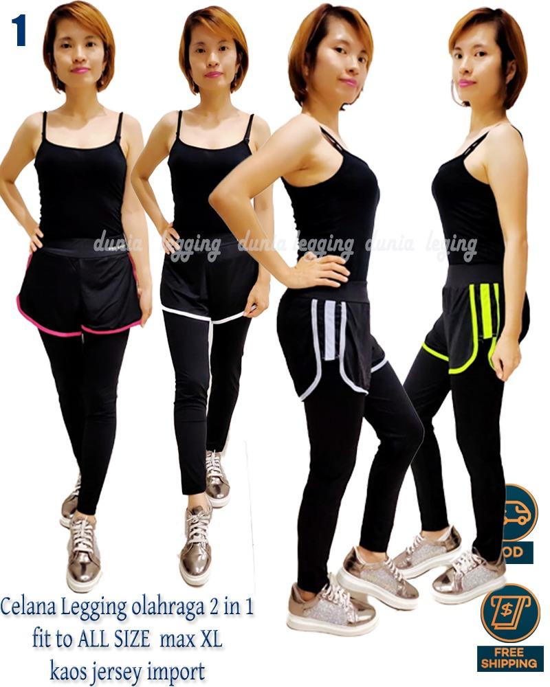 Dunia Legging Ols Celana Legging Senam 2 In 1 Yoga Aerobic Olahraga Lazada Indonesia