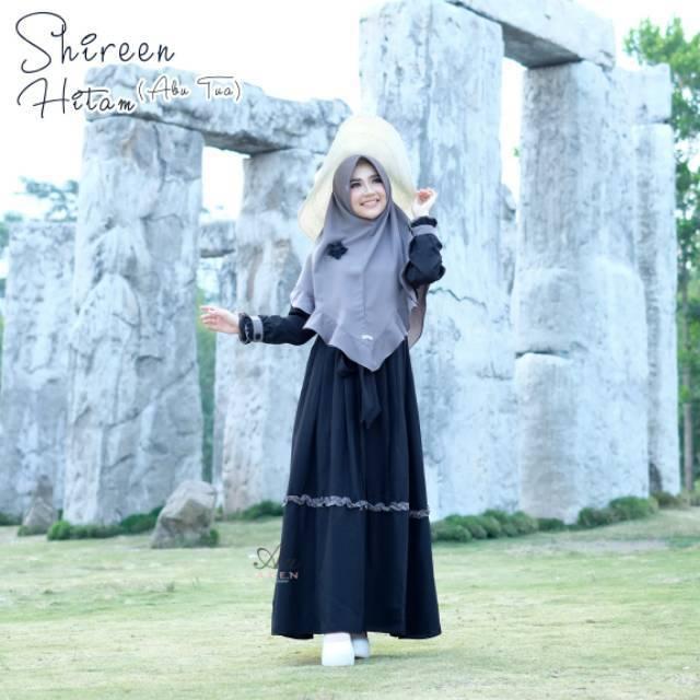 Gamis Aden Aa Shireen Hitam Abu Dress Only Lazada Indonesia