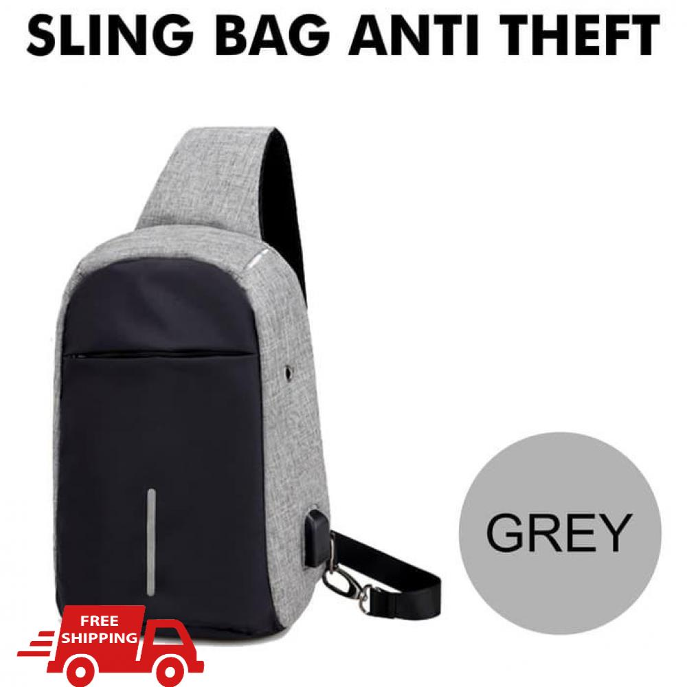 INDO WORLD TRADE - Tas slempang selempang anti maling with Usb Charge tas pria cross body sling bag tas pria