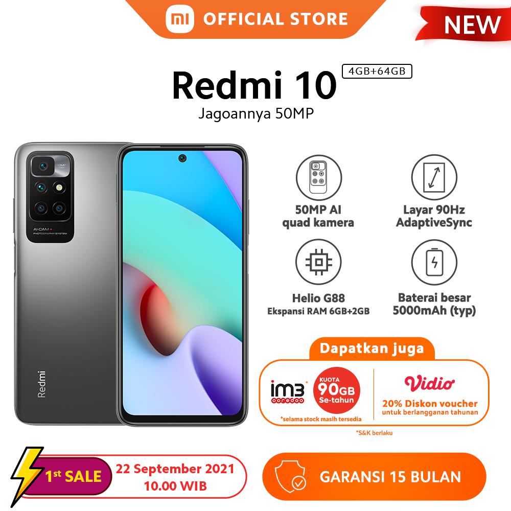 "[Penjualan Perdana 22 Sep 10:00 WIB] Xiaomi Redmi 10 (4GB+64GB) Helio G88 50MP AI Quad Kamera Layar AdaptiveSync 6,5"" 90Hz 5000mAh"