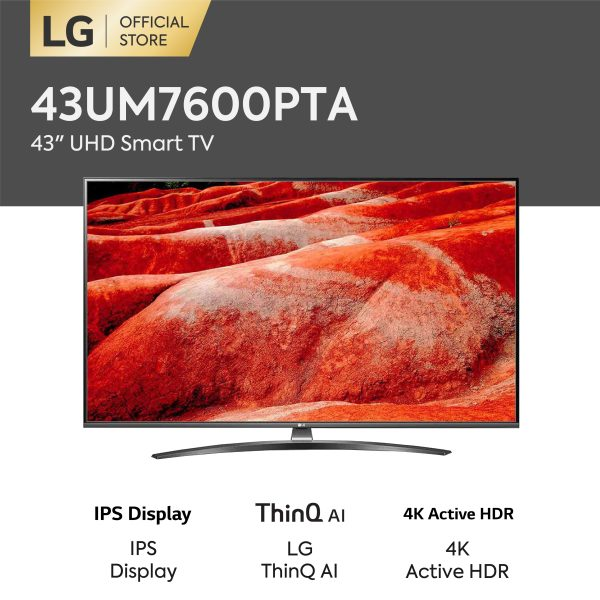 LG 43 Inch UHD webOS Smart TV - Hitam (Model 43UM7600PTA)