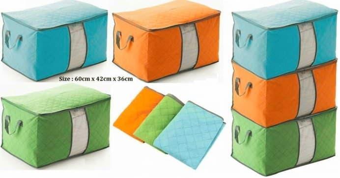Bamboo Storage Bag Box Warna ( Tempat penyimpanan organizer Pakaian, Selimut, Bed cover, sprei) TOKO BAQI 1908