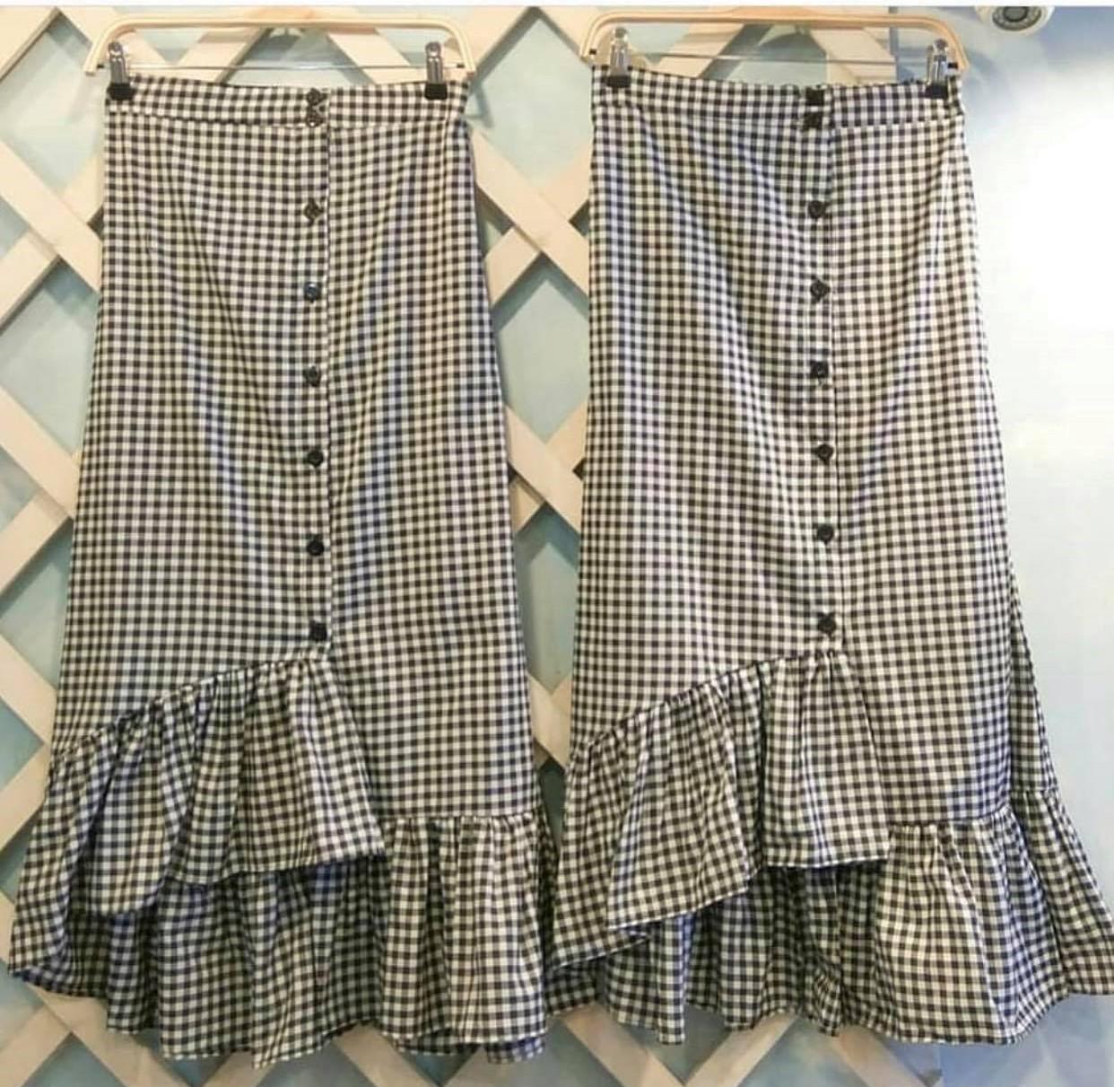 Labelledesign Rok Tartan Maxi Ruffle Skirt Hitam Putih Best Seller ZENIA