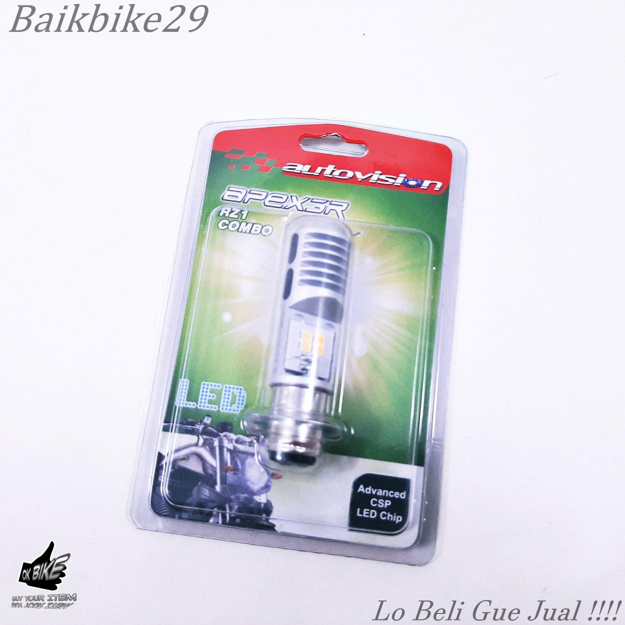 Lampu Bohlam LED Combo Bebek Matic Motor Autovision Dua Warna Socket H6 Universal