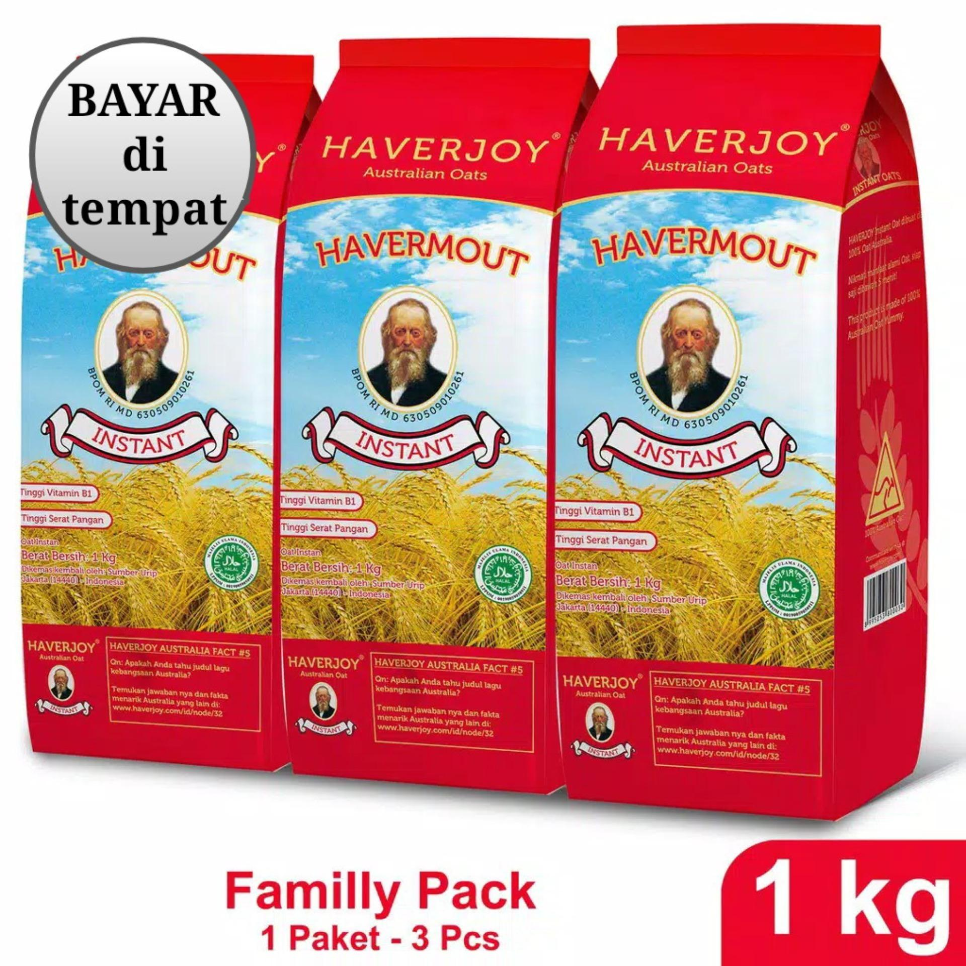 Haverjoy Family Pack Instan Oats 1Kg - 3 Pcs
