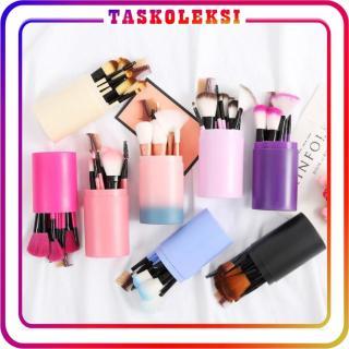 Taskoleksi - R034 Alat Makeup Kuas Tabung 12pcs Make Up Brush 12 Set In Tube Peralatan Dandan Import Murah thumbnail