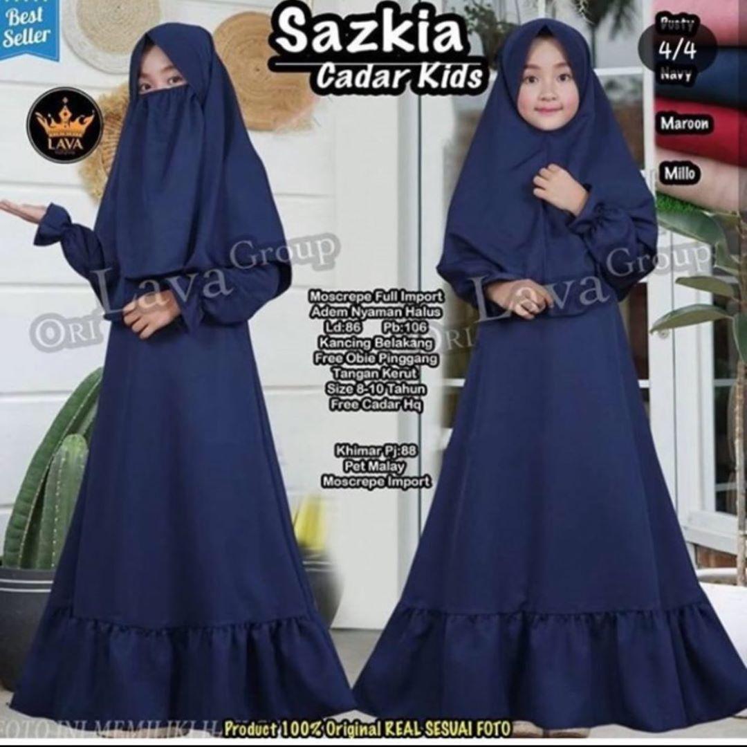 EQUEENSTORE Sazkia Gamis Cadar Anak Perempuan Usia 11-11 Tahun Bahan  Mosscrepe Premium - Gamis Anak Terbaru - Baju Muslim Anak - Baju Setelan  Anak -