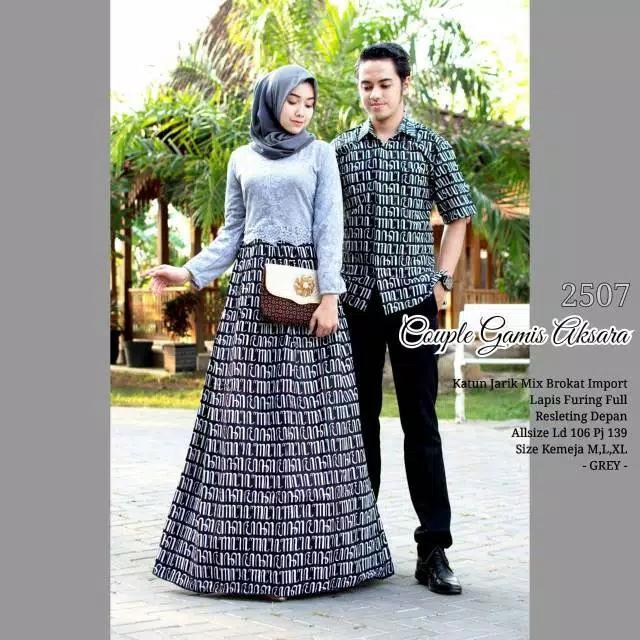 TERMURAH - Baju batik couple - baju muslim wanita terbaru 2018 - kebaya coupel Modern - Couple Batik - Batik Sarimbit - Batik Kondangan - Baju Batik Couple Gamis Aksara