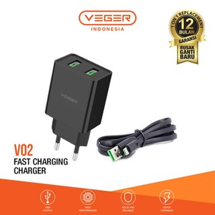VEGER Charger V02 2 Ports USB Fast Charging 2.4A Wall Charger