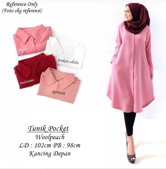 TH Tunik Pocket Atasan Muslim Tunik Blouse Baju Tunik Baju Long Tunic Top Muslim Muslim Modern Terp