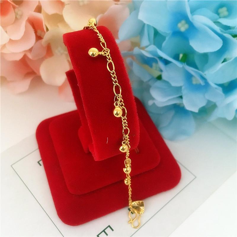 66d1d6da396 New Style Alluvial Gold Lucky Beads Bell Anklet Female 24 K Gold Plated  Japanese Korean Imitation